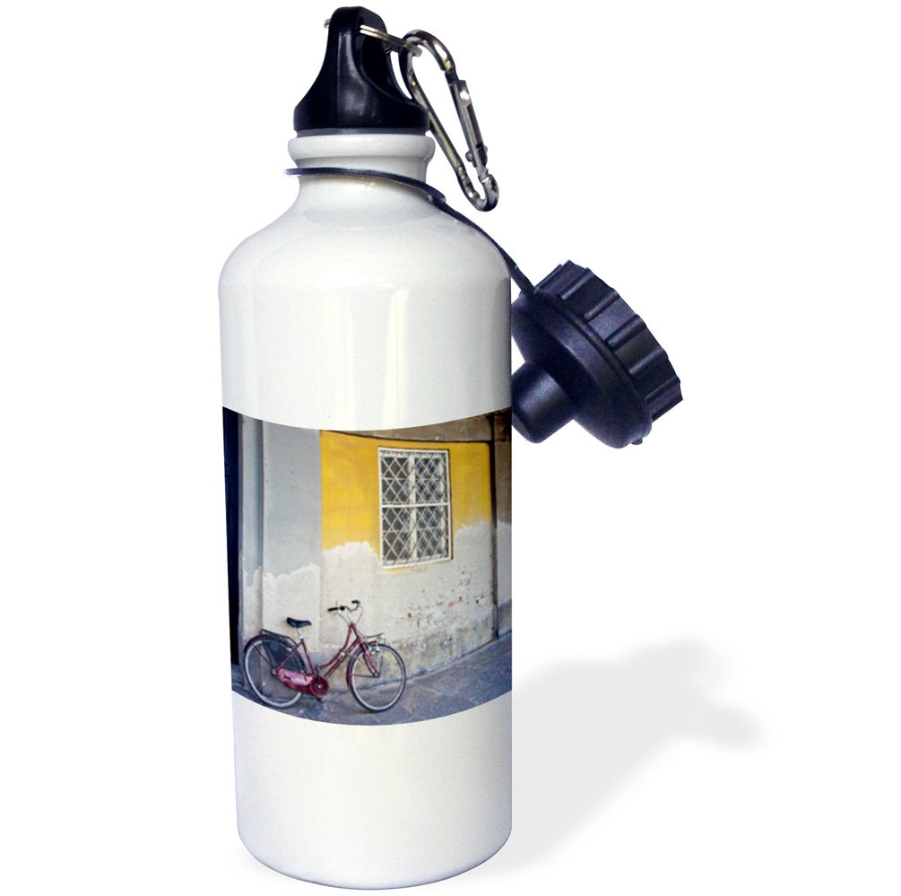 3dRose wb_138208_1 ''Bicycle and Arched Buildings, Lucca, Italy EU16 TEG0365 Terry Eggers'' Sports Water Bottle, 21 oz, White