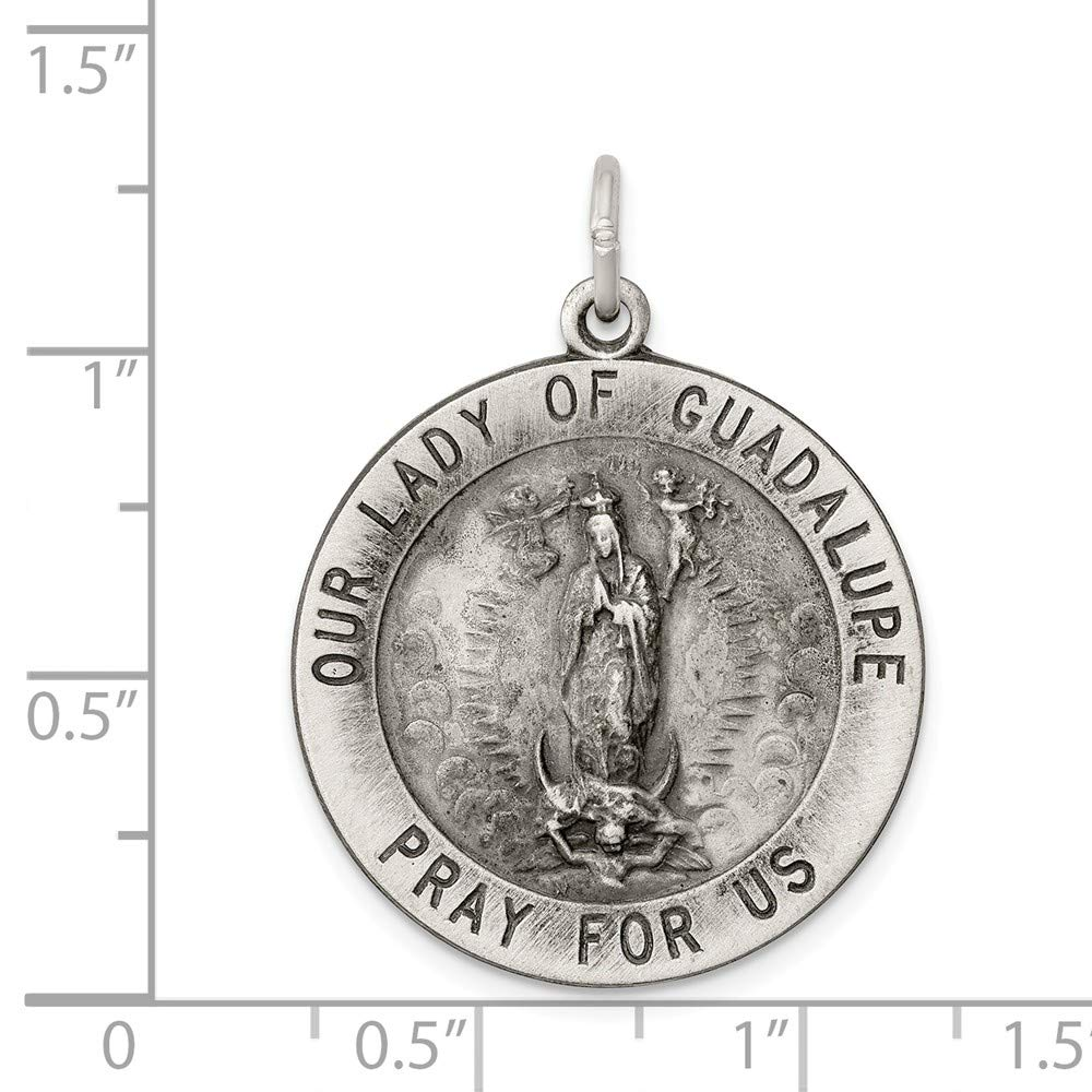 Amazon Solid 925 Sterling Silver Antiqued Style Our Lady Of Guadalupe Medal 25mm X 32mm Jewelry