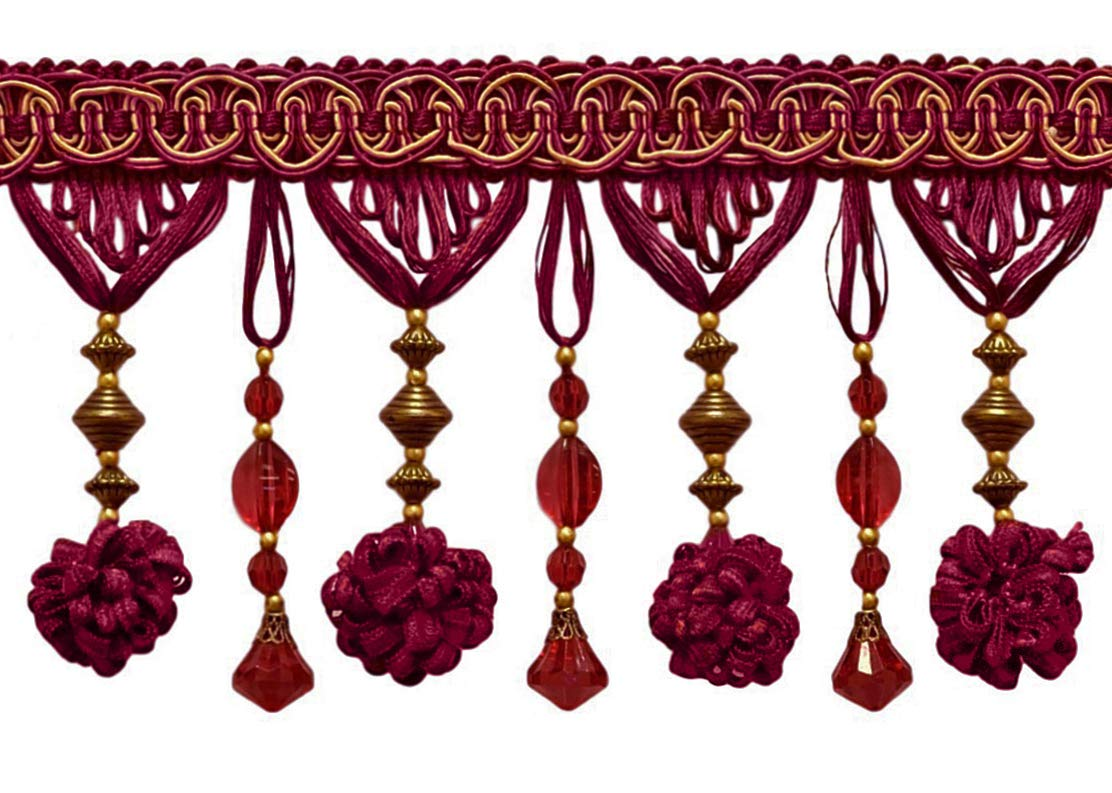 Crimson Gold DecoPro 3 Yard Package|Stunning Burgundy Red 1253|9 Ft Gold 4 Accented Beaded Tassel Fringe|Style# BF400|Color 108