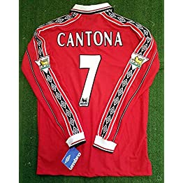 Eric Cantona#7 Manchester United Home Retro Long Sleeve Soccer Jersey 1998 Full Premier Patch