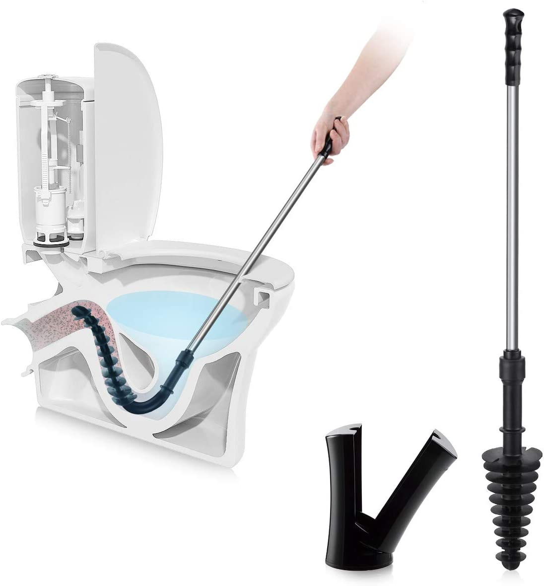 LEPO Toilet Plunger with Holder Clog Remover Squeegee Bathroom Toilet Dredge Tool Stainless Steel Handle Black