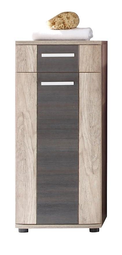 trendteam Armario de baño Cómoda Star, 40 x 90 x 32 cm en acabado roble monument, detalles en marrón oscuro touchwood con cajón