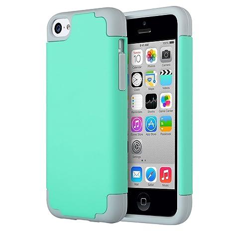 Carcasa iPhone 5c,ULAK iPhone 5c Carcasa Funda Case Cubierta de la caja Delgada Híbrido Prueba de Golpes Duros de PC + suave de Silicona protectora ...