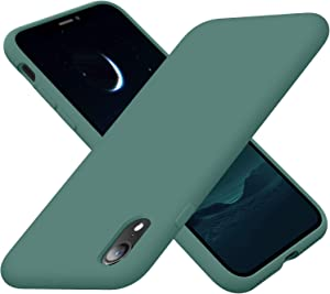 Cordking iPhone XR Cases, Silicone Ultra Slim Shockproof Phone Case with [Soft Anti-Scratch Microfiber Lining], 6.1 inch, Midnight Green