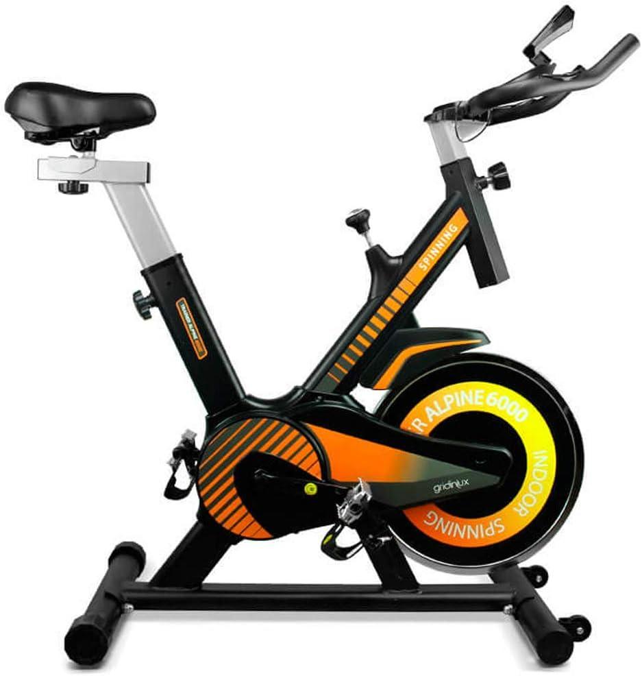 gridinlux. Trainer Alpine 6000. Bicicleta Spinning Pro Indoor. Volante de Inercia 10 kg, Nivel Avanzado, Sistema de Absorción de Impactos, Pantalla LCD, Fitness