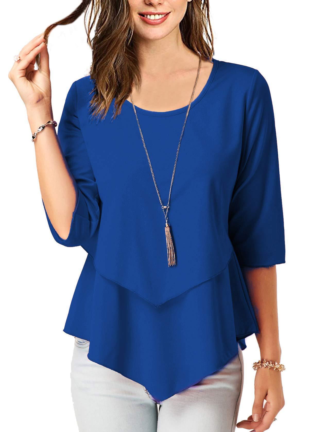 BETTE BOUTIK Women's Half-Sleeves Elegant Work T-Shirt Tops Classic Style Blue Small