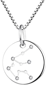 YL Women's Constellation Jewelry Sterling Silver Zodiac Necklace Astrology Coin Disc Horoscope Pendant 14K White Gold Plated