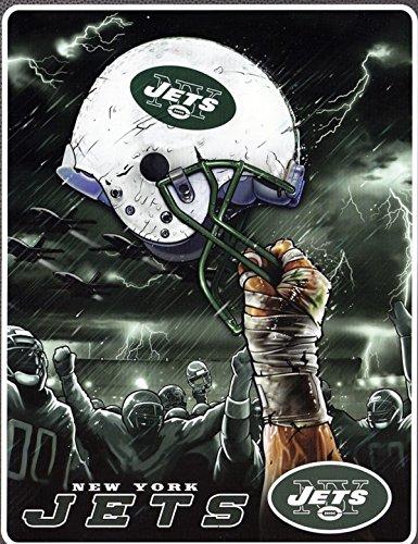 The Northwest Company New York NY Jets NFL Sky Helmet Raschel Plush 60x80 Twin Size Throw/Blanket
