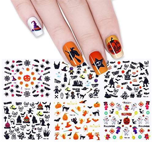 CoulorButtons 24 Sheets Owl Skull Pumpkin Halloween 3D Nail Sticker Nail Art Transfer Decals (Halloween Nail Stickers Uk)