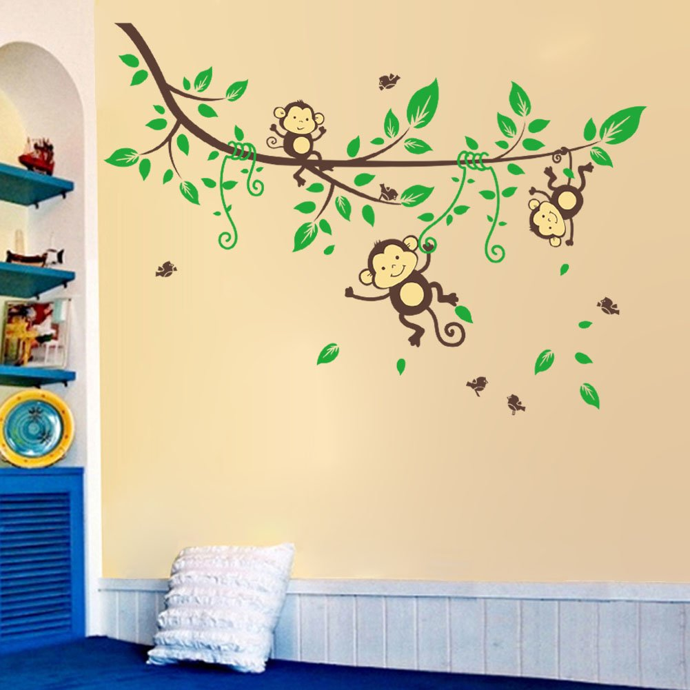 Amazon.com: Lovely Jungle Zoo Wall Sticker Monkey Playing on Tree ...