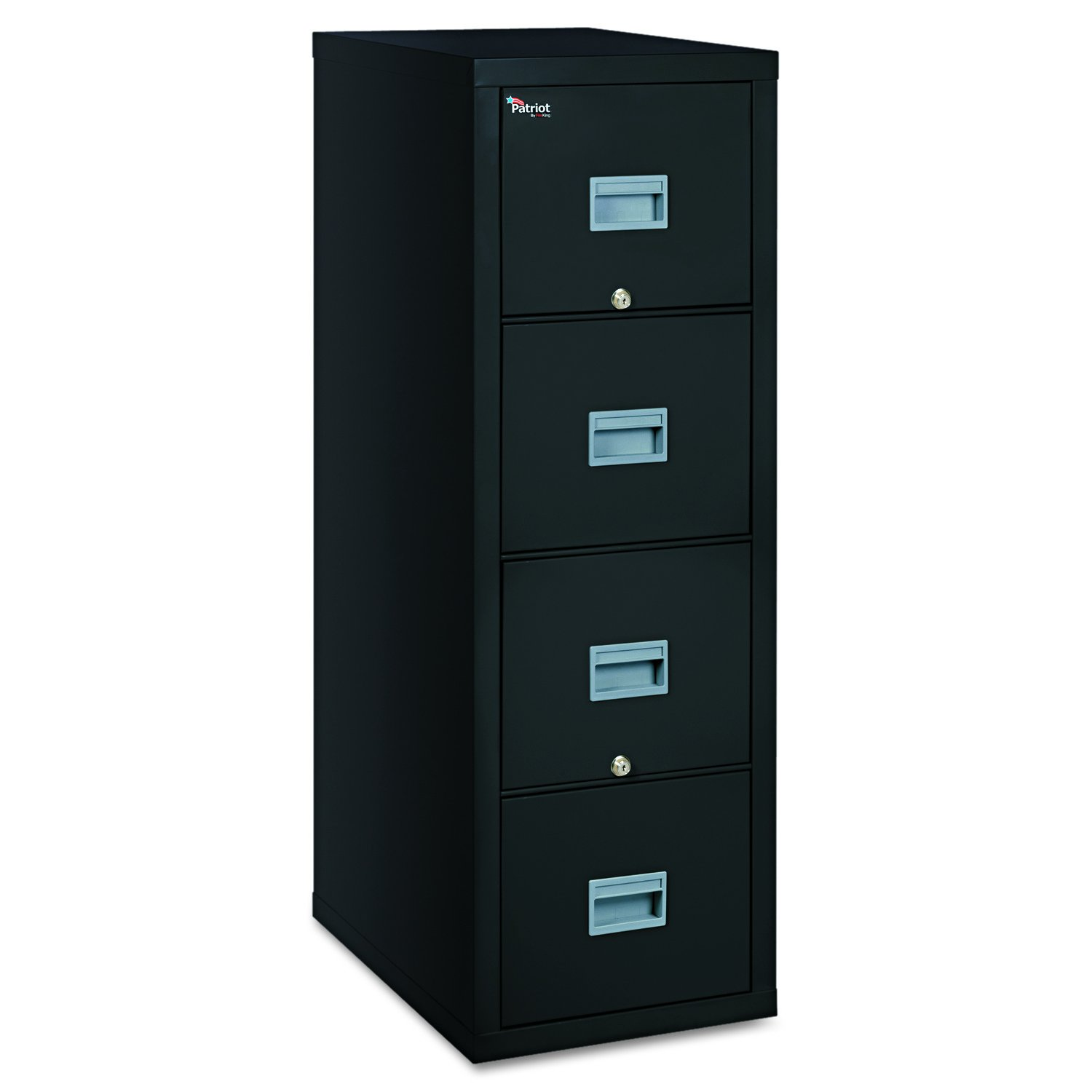 FireKing Patriot 4P1825-CBL One-Hour Fireproof Vertical Filing Cabinet, 4 Drawers, Deep Letter or Legal Size, 18'' W x 25'' D, Black, Made in USA by FireKing