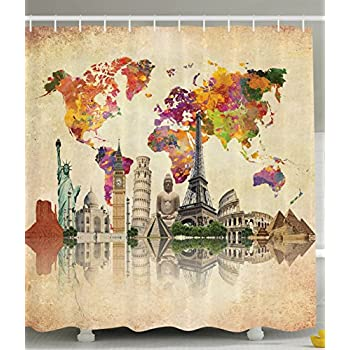 Amazon shower curtain antiques old world map globe art lounge ambesonne vintage map of the world polyester 69 inch by 70 inch gumiabroncs Image collections