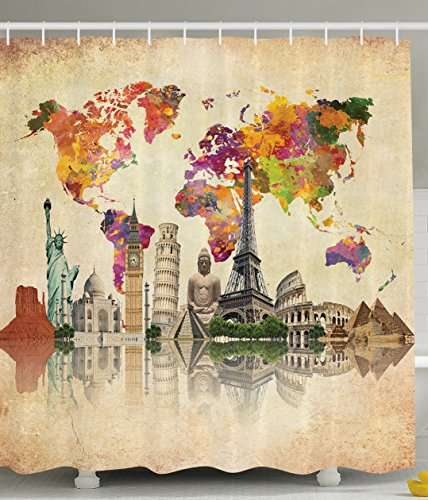 Ambesonne Vintage Map of the World Polyester 69-Inch-by-70-Inch Shower Curtain with Hooks