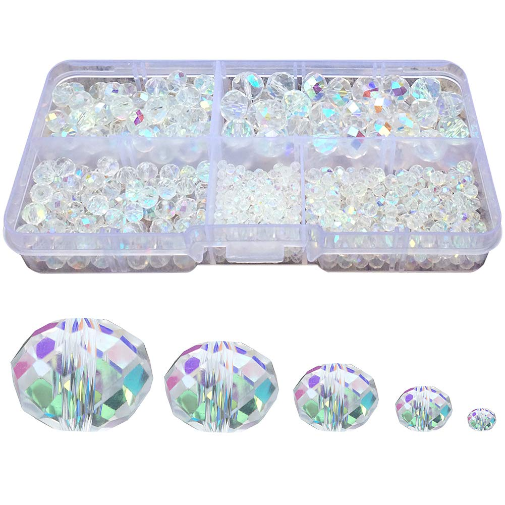 Chengmu 2-10mm Clear White Rondelle Glass Beads for Jewelry Making AB Colour 720pcs Faceted Briolette Shape Crytal Spacer Beads Assortments Supplies for Bracelet Necklace with Elastic Cord Storage Box 4336812302