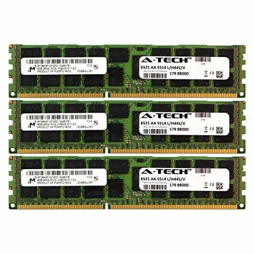 (A-Tech Micron 24GB Kit 3X 8GB PC3-10600 1.35V for HP ProLiant DL170H G6 DL180 G6 DL320 G6 500662-B21 ML350 G6 DL360E G8 SL160S G6 SL165Z G7 516423-B21 SL165S G7 SL170S G6 SL230S G8 Memory RAM)