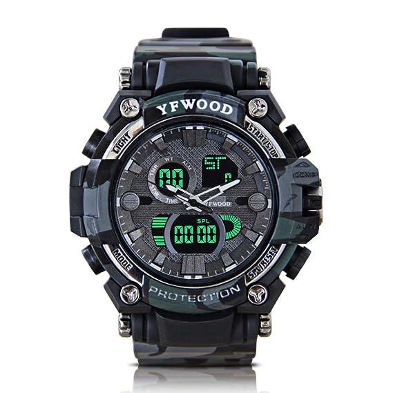 Reloj deportivo para niños con movimiento digital resistente al agua, luz de fondo, multifuncional