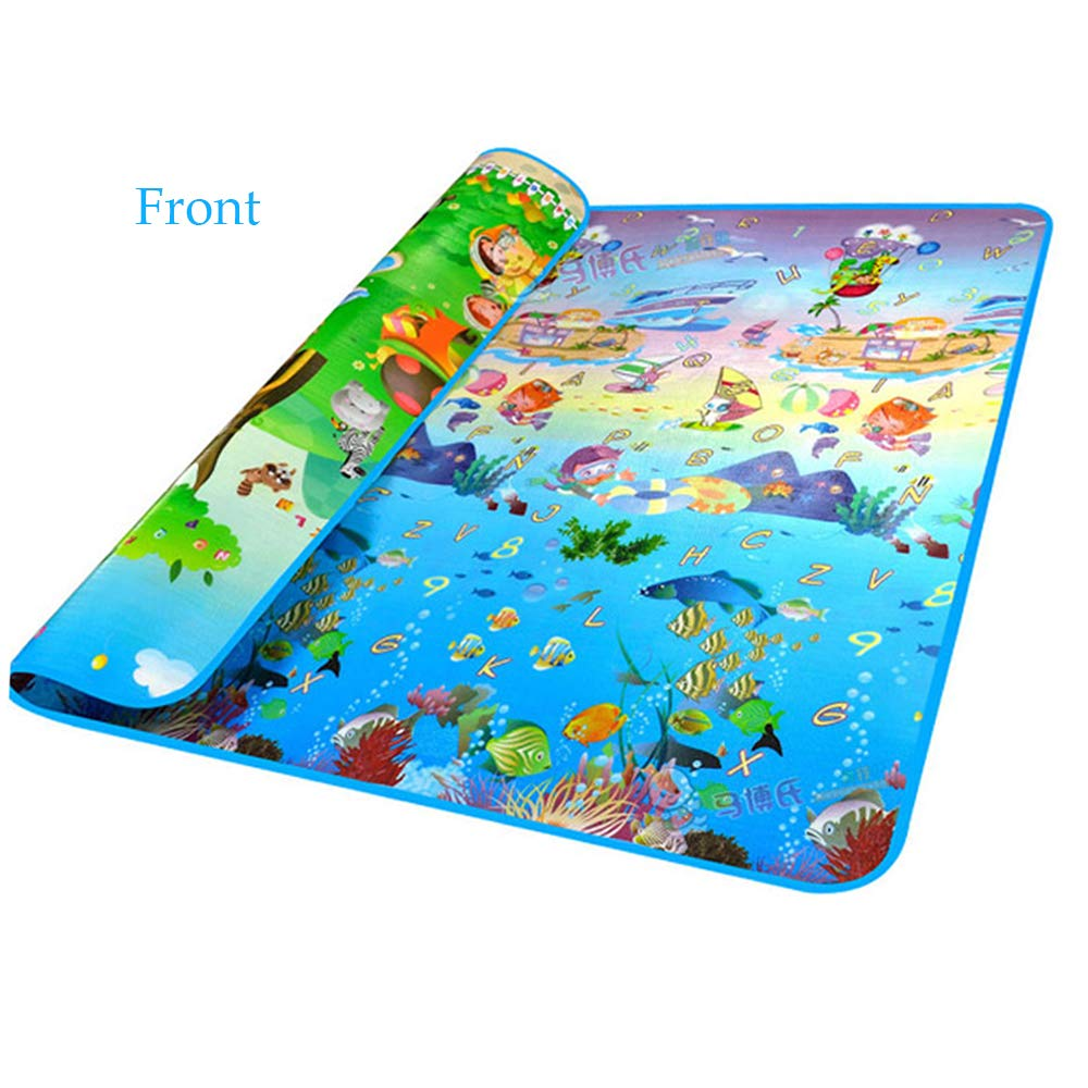 Moroly Baby Play Mat - Extra Large Thick Non-Toxic Non-Slip Waterproof Foam Floor Game Crawling Rugs - Double Sides PlayMat for Babies Toddlers and Kids (Animals and Sea)