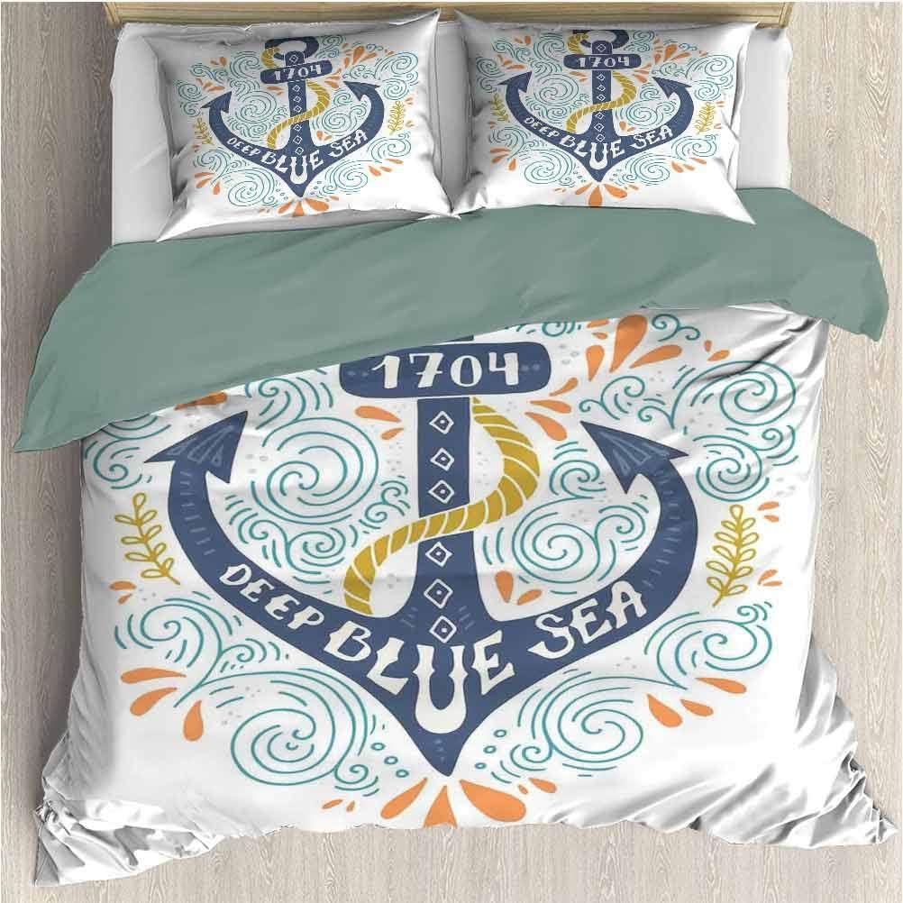 SEMZUXCVO Microfiber Duvet Set Includes 1 Comforter and 2 Pillow Shams, Nautical Decor Colorful Anchor Letterers Deep Blue Sea Marine Design Sea Ship Nautical Decorative (California King)