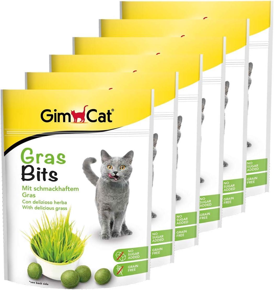 GimCat Gras Bits - Con vitaminas naturales y nutrientes de la hierba deshidratada - Sin azúcar añadido ni cereales - Pack de 6 (6 x 140 g)