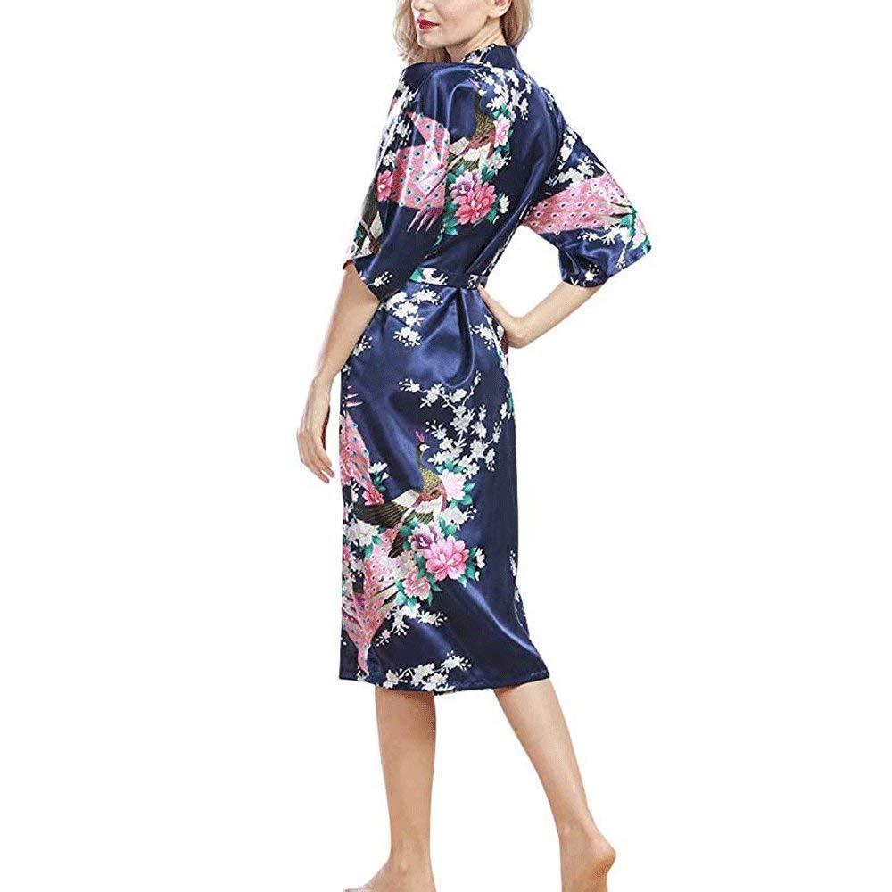 Pavo Real Y Flores para Mujer Togas De Sat/én Ropa De Casa Kimono Bata De Ba/ño Ropa De Noche Nupcial Pijamas De Boda,White-XXXL Tallas Grandes Bata