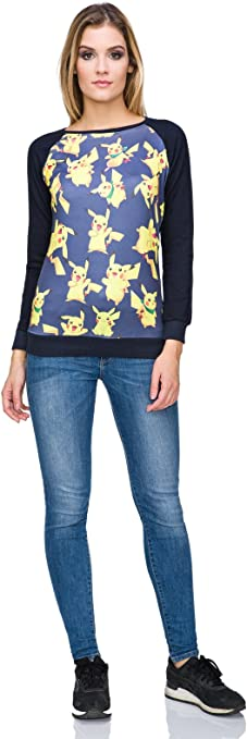Ladies Cute Pikachu Pokemon Go Crew Neck Long Sleeve Pullover Sweatshirt FZ111