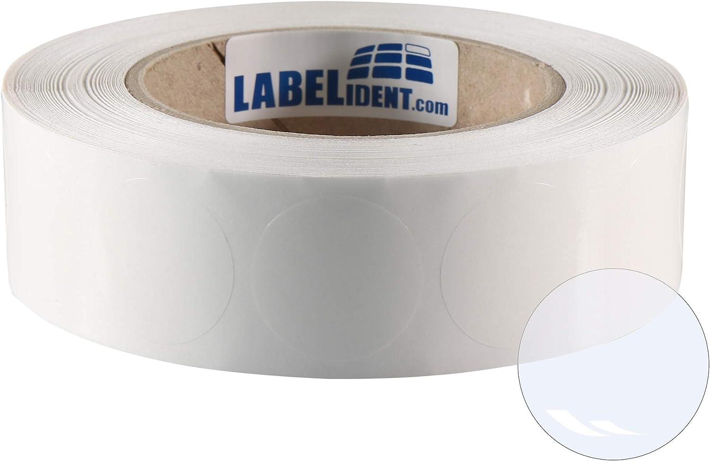 Labelident Verschlussetiketten auf Rolle transparent selbstklebend /Ø 35 mm rund 6000 Polypropylen PP Klebepunkte 3 Zoll Rollenkern