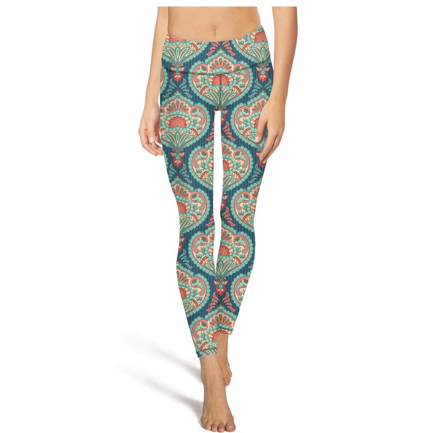 Womens Flora Pattern Indian Colorful Paisley Workout Running Leggings Tummy Control Essential Yoga Pants with Pockets