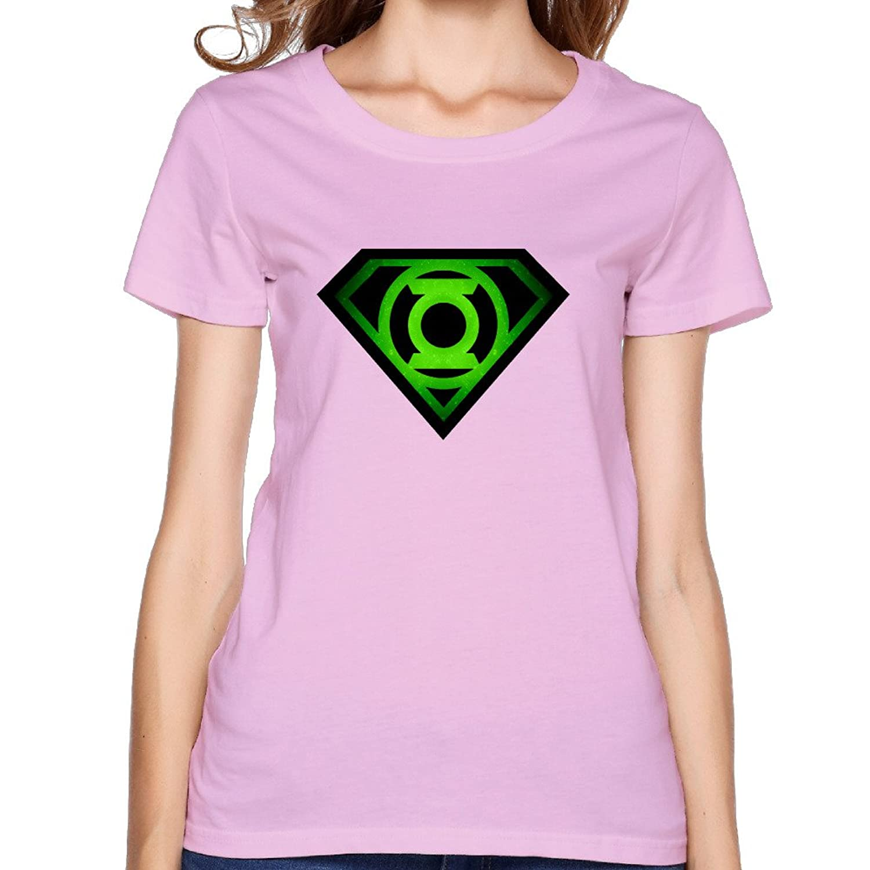 Women's Tshirt The Bing Bang Theory Sheldan Superman Glowing Green Lantern Shield RoyalBlue
