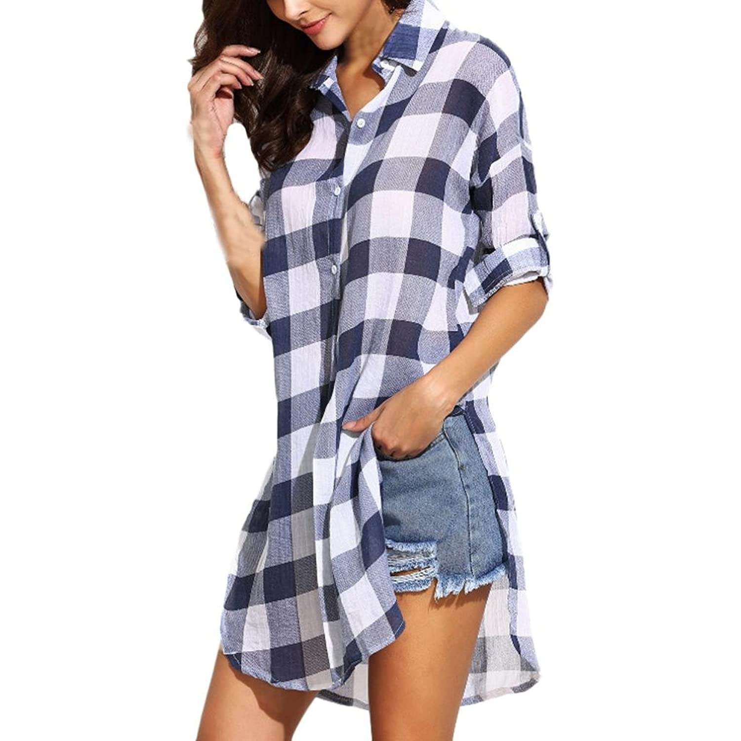 Franterd, Womens Casual Shirt Loose Long Sleeve Plaid Kimono Blouse Tops