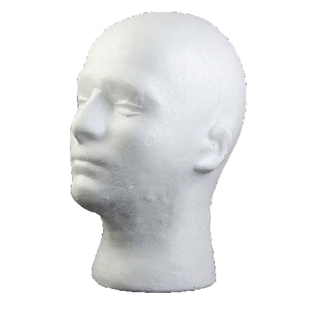 spirworc hlan modello testa, maschio, schiuma plastica, polistirolo, Occhiali Supporto, Supporto per parrucche, Cuffie, cappelli SpirWoRchlan