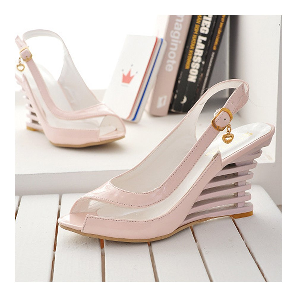 Casual Comfortable Slipsole Peep-Toe Sandals Buckle Patent Leather Pink