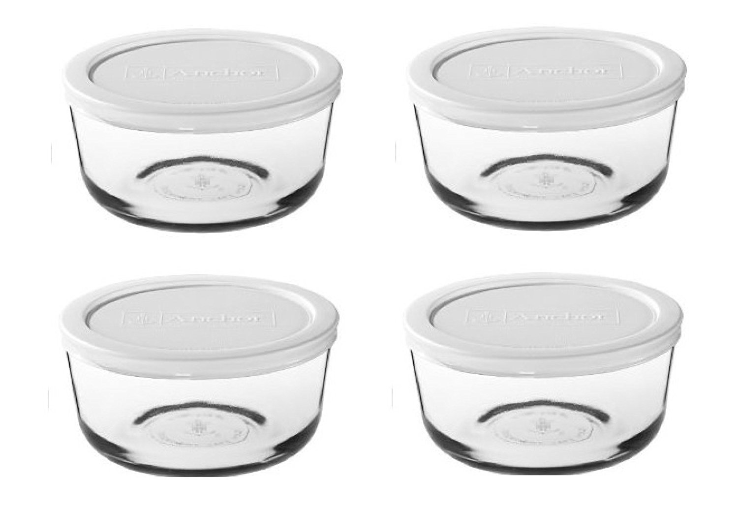 Pyrex storage sets - assorted (4 cup, Box of 4 Containers (White Lid))