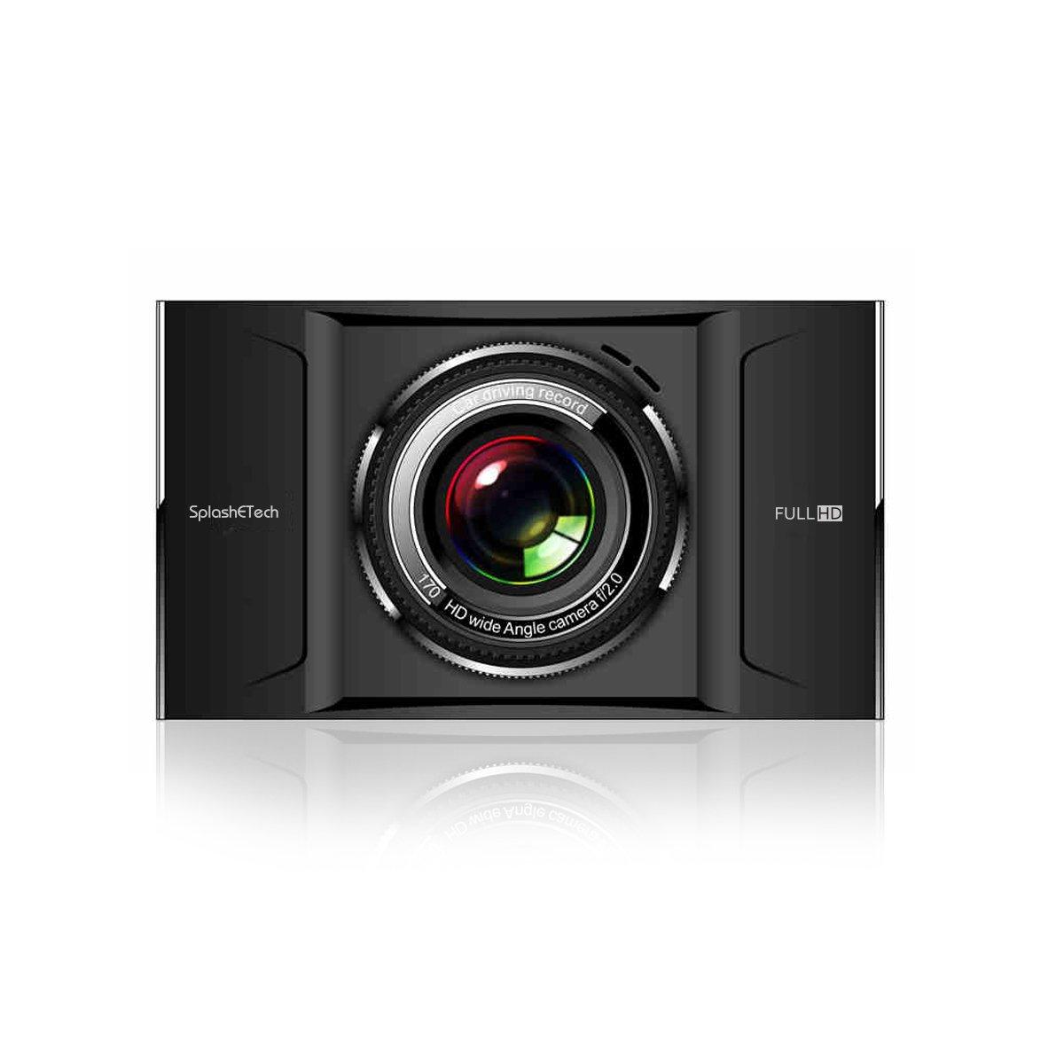 SplashECTech Dash Cam Dual-Lens Ultrathin Super Night Vision -, 4'' Screen 170°, 110°Angle, WDR,1080P, G-Sensor, Parking Guard