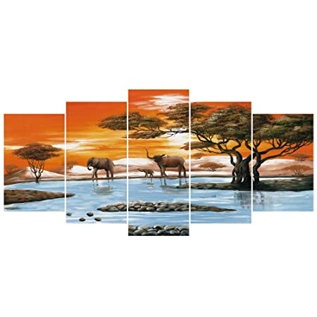 GEVES African Elephants Landscape Animals Giclee Canvas Painting Prints Reproduction Pictures Wall Art for Living Room Home Decoration