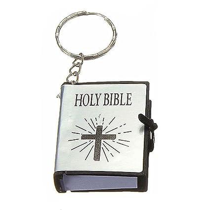 Amazon.com   MAXGOODS Mini English HOLY BIBLE Keychains Religious Keyrings 98c85f12a559