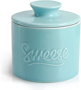 Sweese 304.102 Porcelain Butter Keeper Crock - French Butter Dish - No More Hard Butter - Perfect Spreadable Consistency, Turquoise