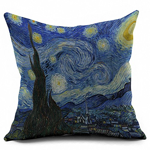 Bed Van Gogh (AxeSickle 18x18 Inch Van Gogh Painting The Starry Night pillowcase,Durable Throw Pillows Cotton Linen Square Cushion Covers Pillowcases,Home Decor Sofa Throw Pillow Covers,Double-sided color printing.)