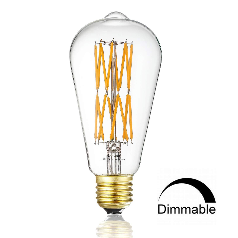 Leools 15W Dimmable Led Edison Bulb,120 Watt Equivalent Light Bulbs,ST64 Style Vintage LED Filament Light,Warm Golw 2200K,1200LM, E26 Medium Base Lamp, Antique Shape, (1 Pack)