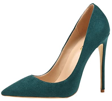 71382b381c8 AOOAR Women s Pointed Toe Party High Heels Atrovirens Suede Pumps Shoes 5  ...