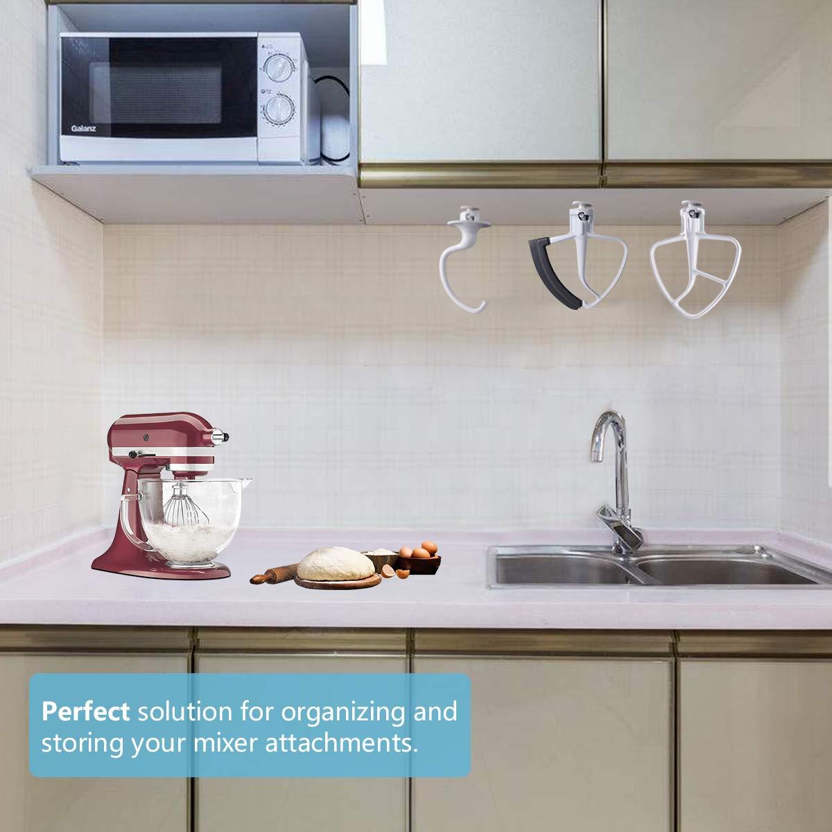 accessori per frusta metallica ganci per impasti supporto per mixer KitchenAid Lanmu frusta piatta accessorio compatibile con mixer KitchenAid Flex Edge confezione da 4 supporto da parete