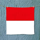 AuraiseHome fast dry towelflag of indonesia for Maximum Softness W13.8 x W13.8