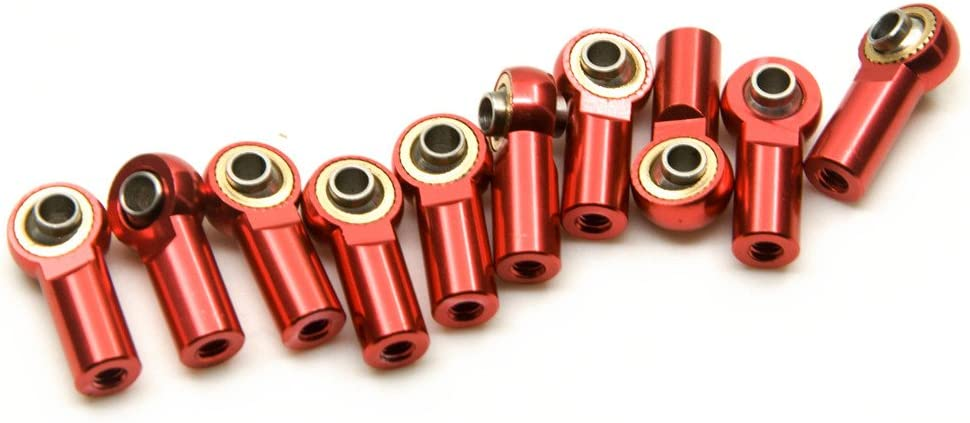 Jack-Store 10 Pcs Aluminum M3 Metal Ball Head Holder Tie Link Rod End Joint Climbing Marine Crawlers Car for 1:10 D90 SCX10 F350 Red