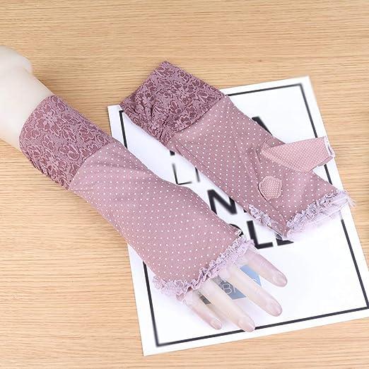 QWEA Guantes sin Dedos de algodón para Mujer, sección Delgada de ...