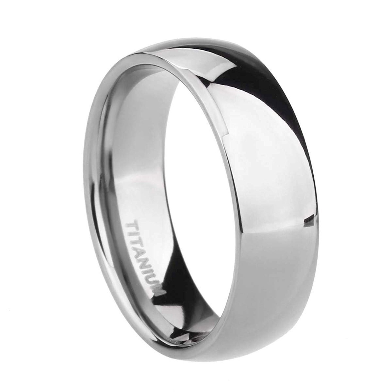 TIGRADE 6mm Titanium Ring Plain Dome High Polished Wedding Band Ring Comfort Fit Size 4-15(Titanium, 9.5)
