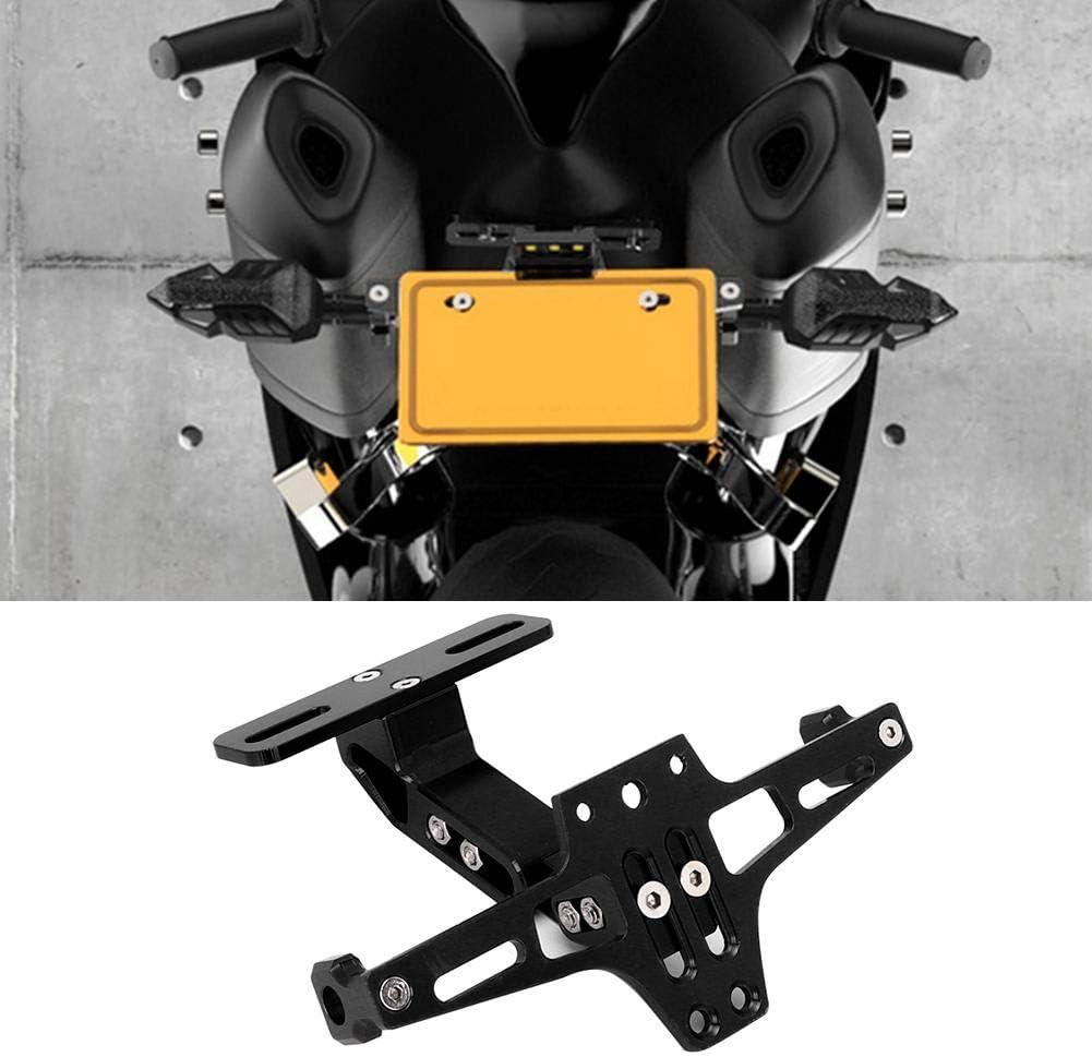 Black Adjustable Telescopic Aluminum Alloy Bracket License Plate Holder with LED Light for Motorcycle Base Fender Eliminator License Plate Bracket Holder Tail