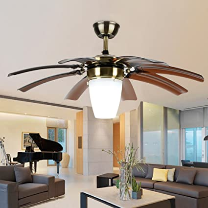 LuxureFan Modern Simple Ceiling Fan Light for Living Room Bedroom with 8  Retractable ABS Leaves and Remote Control Take Off Chandeliers of 42Inch ...