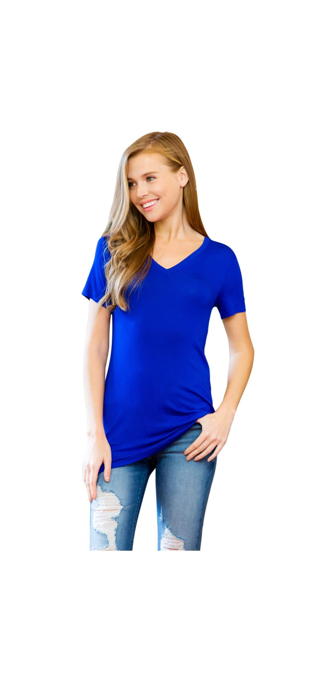 Women's Soft Casual T-shirt Top - Solid Color Basic