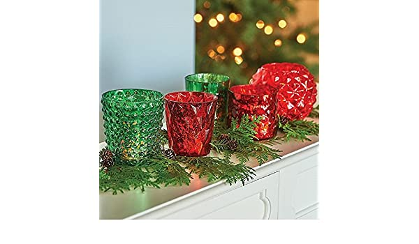 5pc mercury glass redgreen votive candle holders christmas decoration improvements - How To Decorate Votive Candle Holders For Christmas