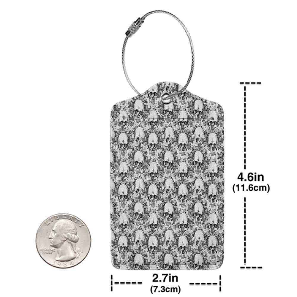Decorative luggage tag Day Of The Dead Decor Skull Skeleton Pattern Print Dia de Los Muertos Festive Theme Suitable for travel Grey and White W2.7 x L4.6