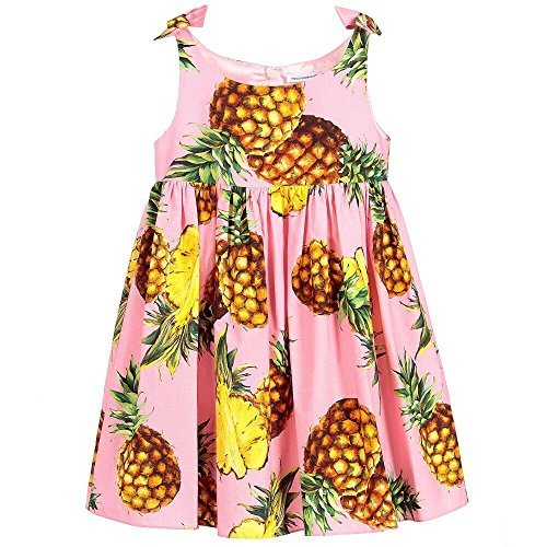 Kimocat Little Baby Girls Dress Sleeveless with Floral Printed Causal Outfit for Toddler